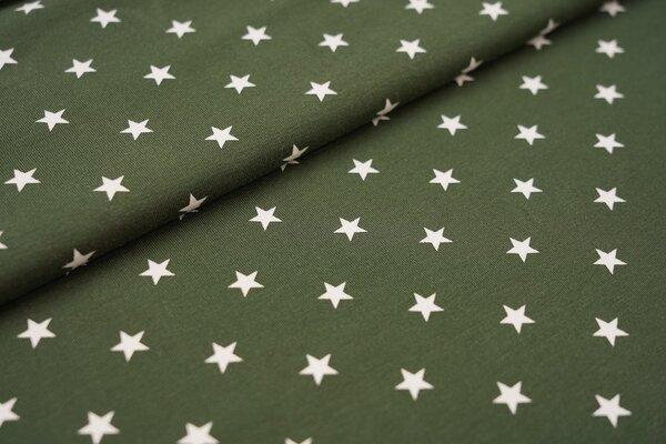 Baumwoll-Jersey weisse Sterne auf khaki waldgrün