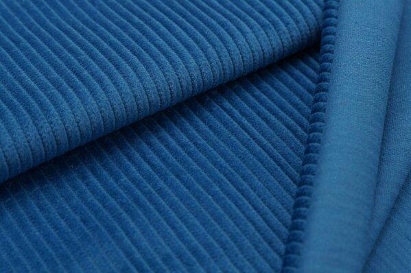 Breitcord Stoff uni taupe blau