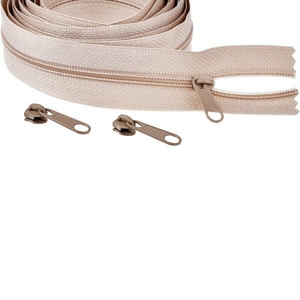 Endlos Spiral Reißverschluss uni dunkel beige 3 mm