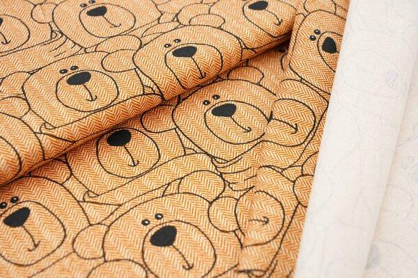 Baumwoll-Sweat Swafing Teddybären auf Fischgrätmuster orange / schwarz