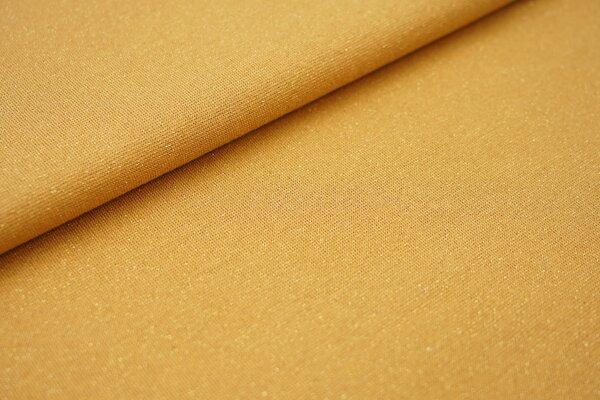 Glitzer Bündchen senf ocker mit gold Lurex Glitzer