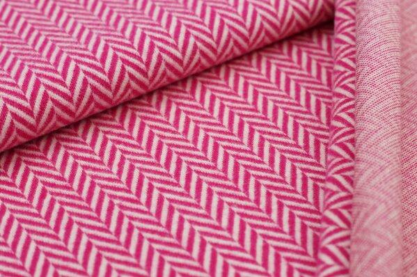 Kuschel Jacquard-Sweat Max XXL Fischgrätmuster amarant pink / off white