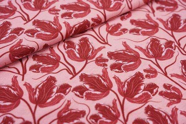 Baumwoll-Jersey große Tulpen Blumen rosa / rot