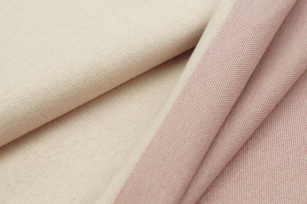 Jacquard-Sweat Ben pastell rosa Uni mit altrosa und dunkel altrosa Rückseite