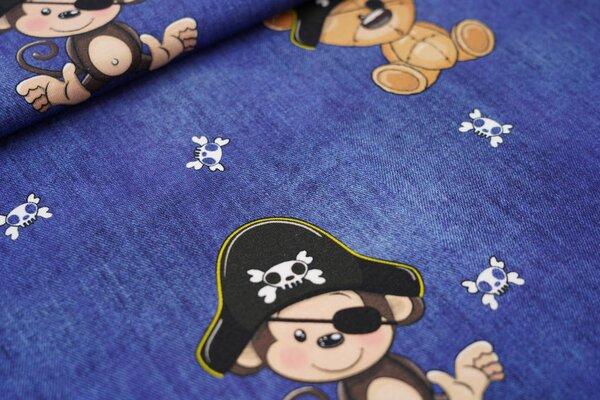 Baumwoll-Jersey Digitaldruck Piraten Affe und Teddybär in Jeansoptik dunkelblau