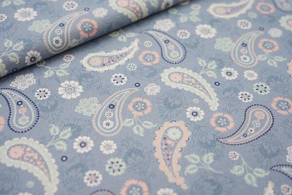 Baumwoll-Jersey Retro Blumen Paisleymuster blaugrau / lachs / mint / weiß