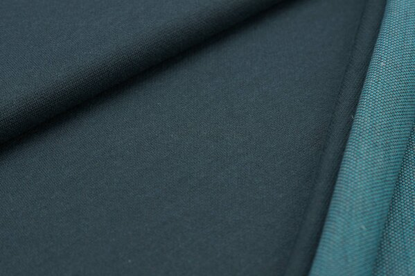 Jacquard-Sweat Ben dunkelgrau Uni mit hellgrauer und türkiser Rückseite
