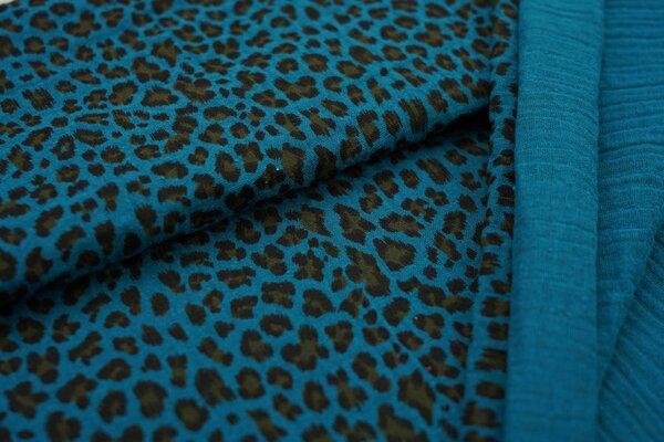 Musselin Stoff Double Gauze kleines Leoparden Muster petrol schwarz hellbraun