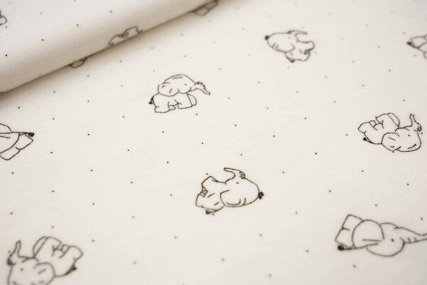 Nicki Velours Stoff Elefanten und Punkte auf creme