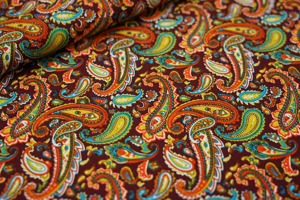 Baumwollstoff Paisley-Muster weinrot / orange / senf / türkis / weiß