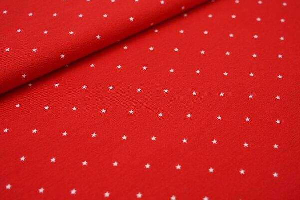 Baumwoll-Jersey maritime weiße Sterne auf rot