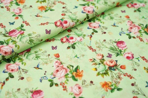 Baumwollstoff Blumenbouquet Rosen Schmetterlinge Kolibris auf hellgrün
