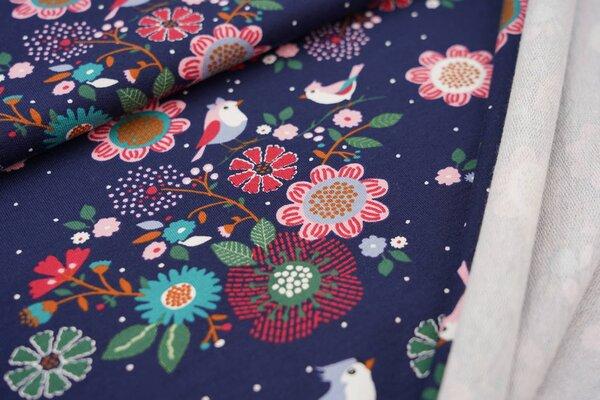 Baumwoll-Sweat Vögel auf Zweigen mit Blumen Punkten auf dunkelblau Haubenvogel