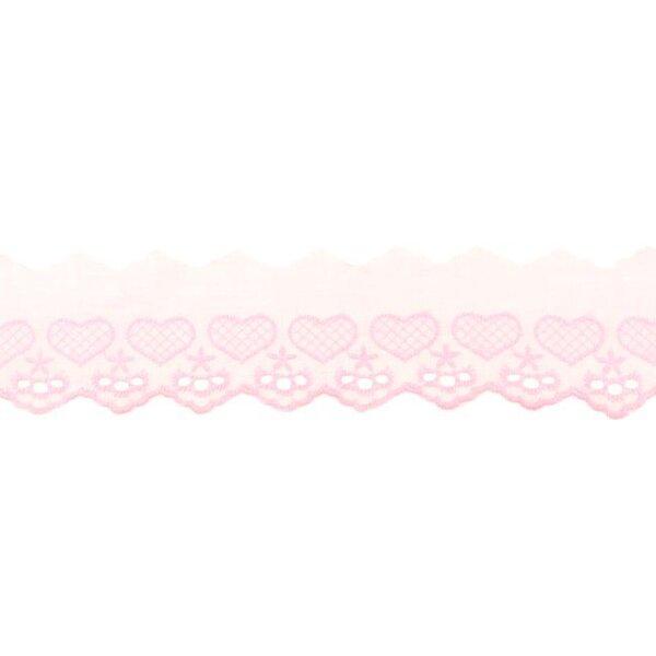 Baumwoll Spitze mit Herzen und Sternen rosa Spitzenbordüre Borte