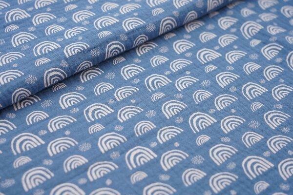 Musselin Stoff Double Gauze kleine weisse Regenbogen auf jeansblau