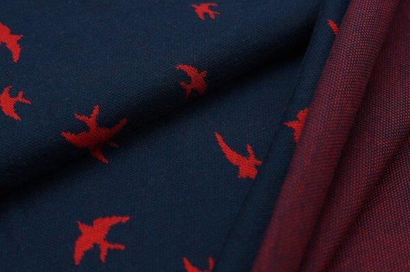 Jacquard-Sweat Ben rote Schwalben Vögel auf navy blau