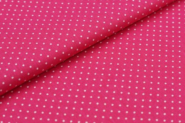 Baumwollstoff Baumwolle pink mit kleinen weißen Punkten