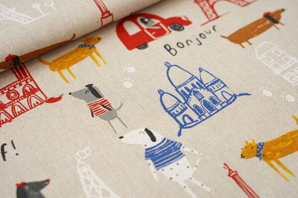 Canvas-Stoff Dekostoff in Leinenoptik Hunde in Paris Eifelturm auf natur