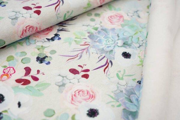 Dicker und kuscheliger Baumwoll-Sweat Blumen und Rosen auf hellgrau