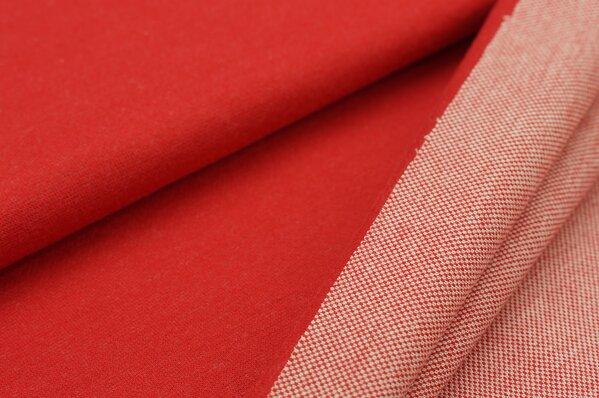 Jacquard-Sweat Ben rot Uni mit rot und off white Rückseite