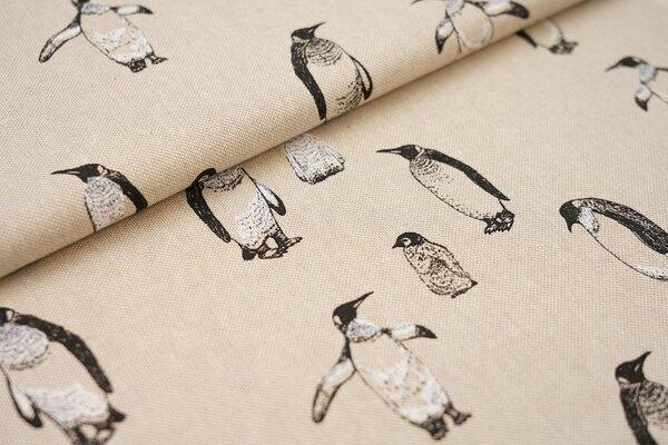 Canvas-Stoff Dekostoff in Leinenoptik Pinguine mit Babys natur / schwarz / weiß