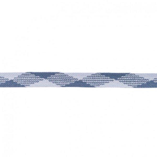 Kordel flach kariert hellblau / jeansblau 20 mm breit