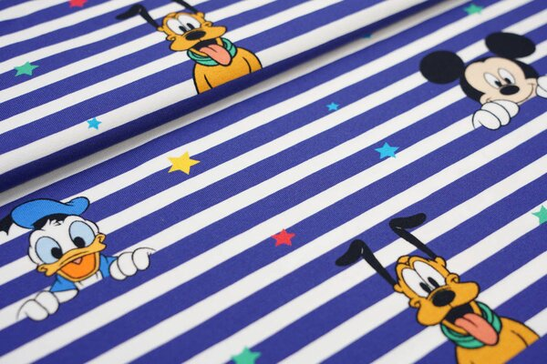 Digitaldruck Baumwoll-Jersey Disney Micky Donald Goofy Pluto Streifen und Sterne