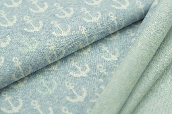 Jacquard-Sweat Mia off white und mint Anker auf pastell hellblau Melange