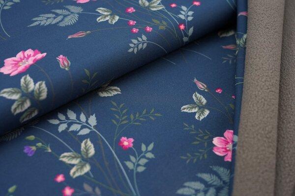 Softshell-Stoff Swafing Fiete langstielige Blumen auf petrol / graue Innenseite