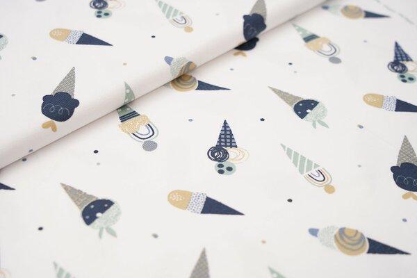Baumwoll-Jersey Eistüten und Punkte in blau mint und beige auf weiß