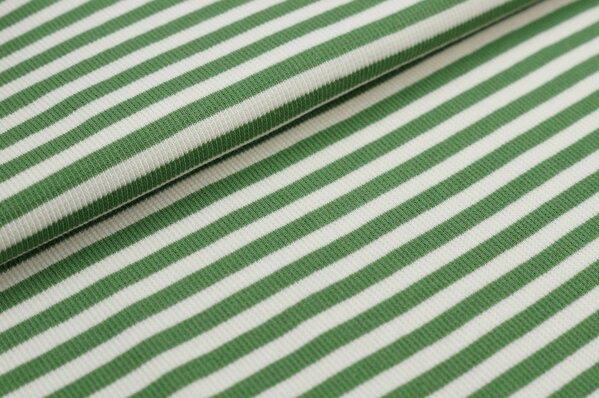Ringelbündchen Marie gerippt grün / off white Streifen