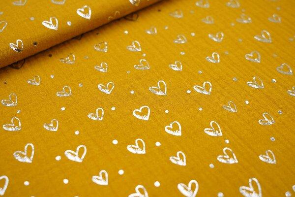 Musselin Stoff Double Gauze senf mit silbernen Herzen und Punkten