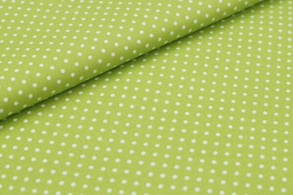Baumwollstoff Baumwolle kleine Punkte grün / weiß