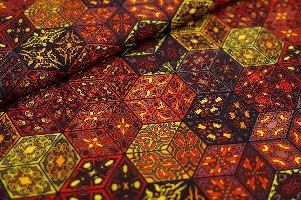 Baumwoll-Jersey Retro Blumen Muster Würfel-Blöcke braun / orange / gelb