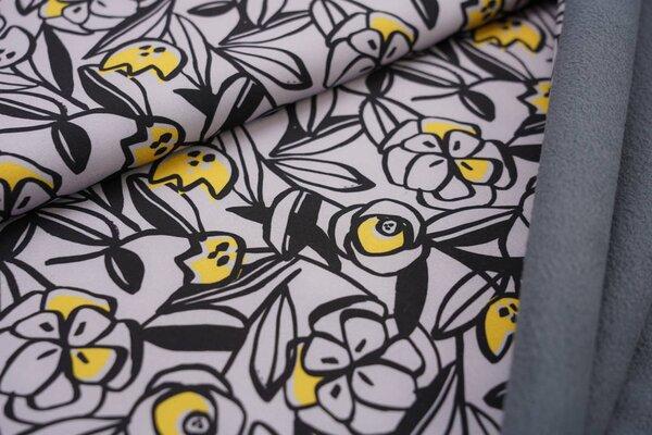 Softshell-Stoff abstraktes Blumen Muster hellgrau / schwarz / gelb