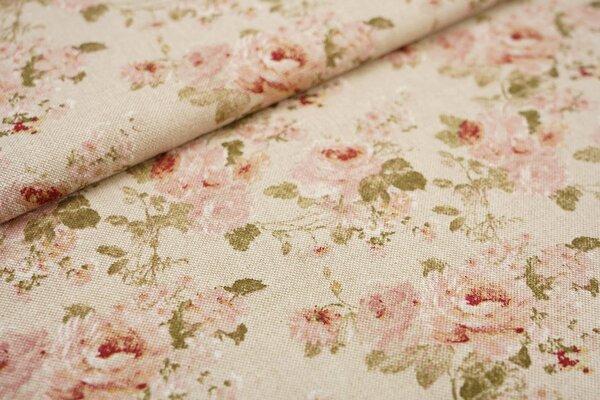 Dekostoff in Leinenoptik natur kleine Rosen Blumen rosa / grün