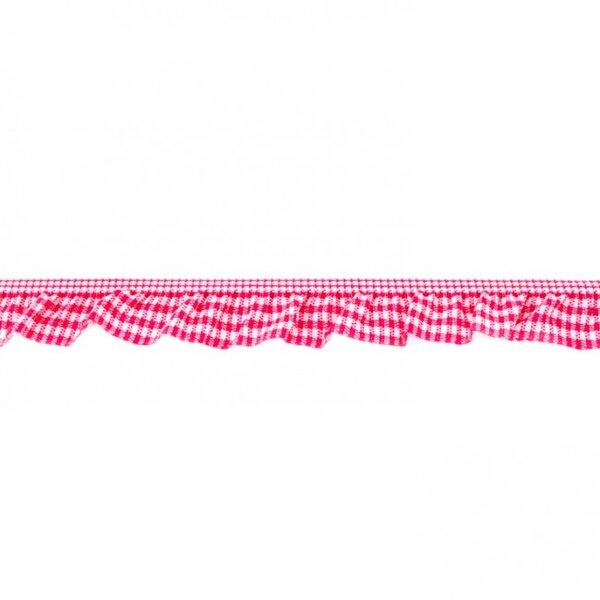 Elastisches Karoband mit Rüschen Zierband pink / weiß 20 mm breit