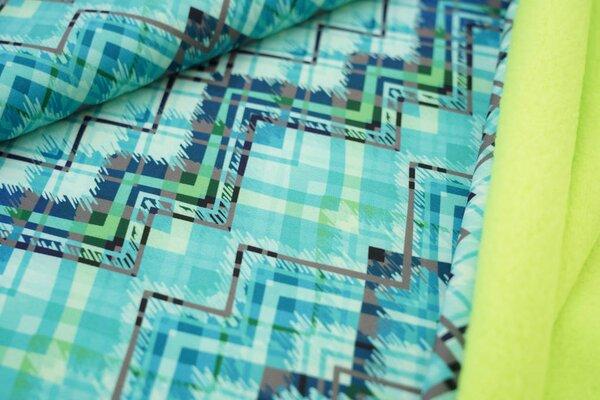 Softshell-Stoff abstraktes Viereck Muster in mint grau / neon grüne Innenseite