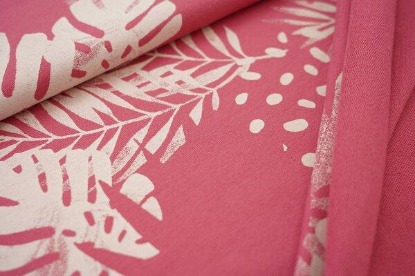 Baumwoll-Sweat Digitaldruck Farne Blätter Punkte himbeerrosa / creme