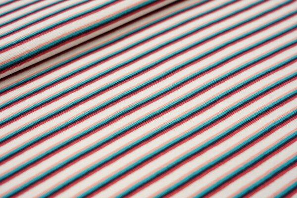 Ringelbündchen bunte Streifen weiß / lachs / aqua blau / dunkelblau / koralle