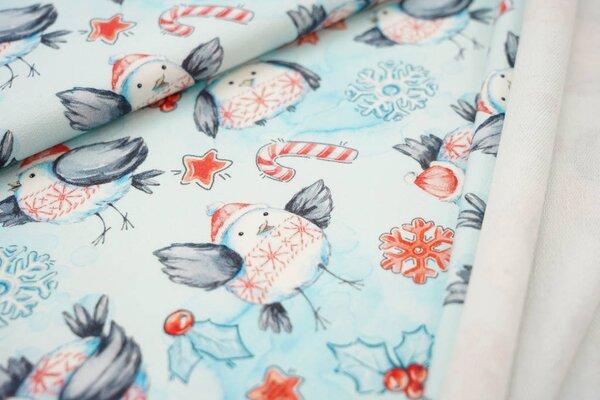 Baumwoll-Sweat Digitaldruck Vogel Eiskristalle Sterne Schnee Winter hellblau