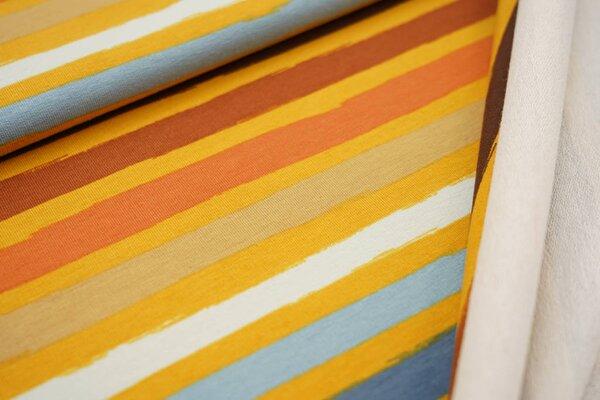 Baumwoll-Sweat bunte Streifen senf / braun / orange / beige / blau