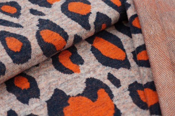 Kuschel Jacquard-Sweat Max Leoparden Muster navy blau / orange / off white
