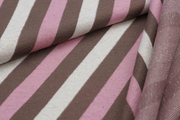 Jacquard-Sweat Ben diagonale Streifen taupe braun / altrosa / off white