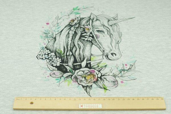 Panel Baumwoll-Sweat Digitaldruck Einhorn mit Blumen auf grau meliert Rapport