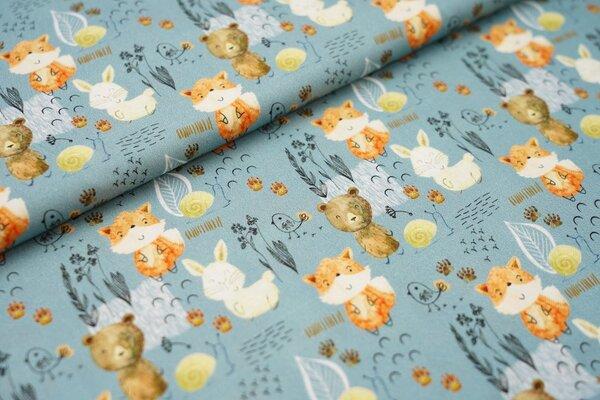 Baumwollstoff mit Fuchs Bär Hase Schnecke Vogel und Gräser auf blaugrün