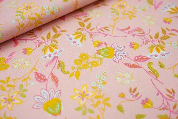 Baumwollstoff mit Blumen auf rosa mit hellblau / grün / gelb / pink