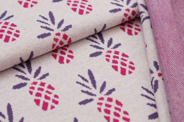 Jacquard-Sweat Ben Ananas off white / amarant pink / lila