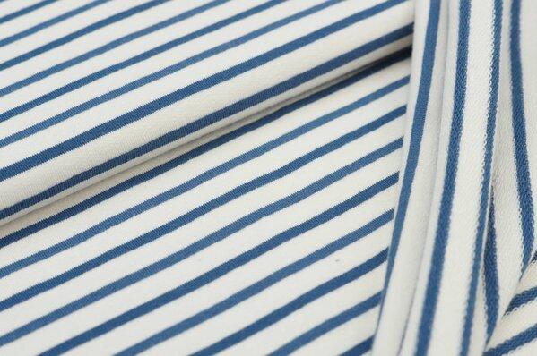 XXL Baumwoll-Sweat MARIE Streifen Ringel mittel taupeblau und creme