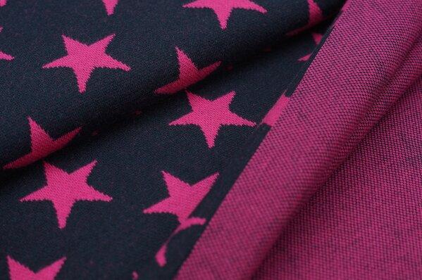 Jacquard-Sweat Ben amarant pink Sterne auf navy blau